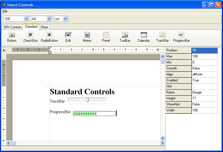 Standard components in ScaleRichView